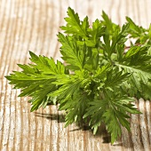 Fresh mugwort on wooden background