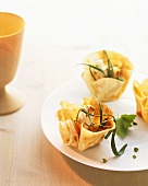Baked goat's cheese in pastry shells