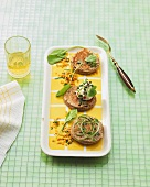 Vegetable burgers with red lentils on rectangular platter