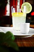 Ginger drink with slice of lemon
