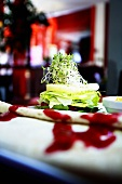 Tortilla and vegetable tower with cress