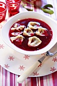 Borsch with filled pasta parcels (Poland)