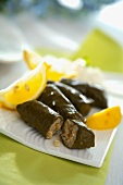 Sarmi (Vine leaves stuffed with rice & raisins, Bulgaria)