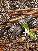 Coffee beans, vanilla pods and cinnamon sticks
