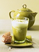 Asparagus cappuccino (Creamed asparagus soup with milk froth)