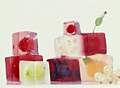 Cubes of jelly containing fruit