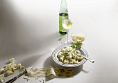 Herb pasta with parsley and walnut sauce