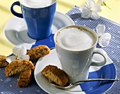 Cappuccino e cantucci (Cappuccino with almond biscuits, Italy)