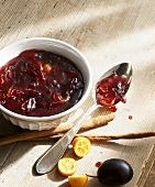 Spicy damson and kumquat confiture