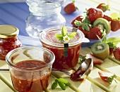 Three fruit jam (kiwi fruit, strawberry and rhubarb)