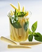 Pickled baby corn with basil