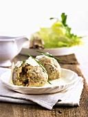 Mushroom dumplings with Riesling sauce