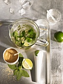 Mojito in a glass jug