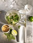 Mojito in a glass jug