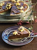 Toblerone truffle tart decorated with pastry stars