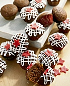 Decorated chocolate muffins with golden syrup