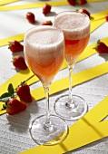 Two glasses of Strawberry Sekt