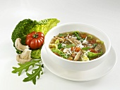 Savoy cabbage and mushroom soup