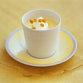 Lemon posset (English lemon dessert with candied lemon peel)