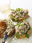 Turkey breast pâté and ham spread with herbs