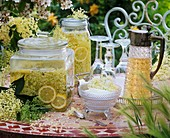 Elderflower lemonade in perserving jars