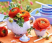Orange ranunculus in teapot and bowl