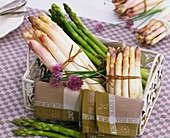 White and green asparagus and chives in metal basket