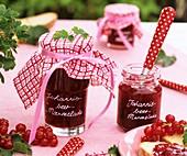 Jars of redcurrant jam