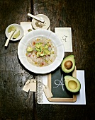 Fish carpaccio with avocado