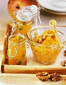 Mango jam with ginger, orange jam with walnuts