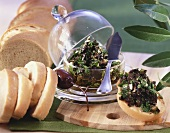 Olive spread and baguette