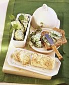 Lime butter, herb butter, garlic and sesame butter