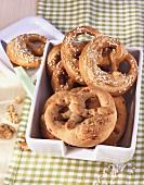 Bacon and walnut pretzels, salt pretzels