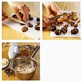 Preparing chestnuts for chestnut cream with cinnamon