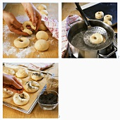 Shaping bagels, precooking and sprinkling with poppy seed