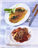 Saltimbocca & venison escalope with shallots in port wine
