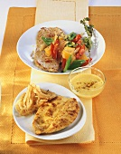 Curried escalope and escalope with paprika