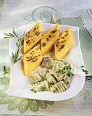Gnocchi al cerfoglio e polenta (Chervil dumplings & polenta)