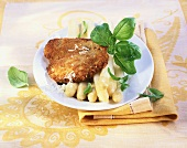 Escalopes with Parmesan and asparagus