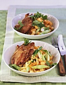 Lamb escalopes with couscous and apricots