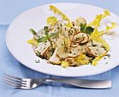 Jerusalem artichoke salad with wild herbs