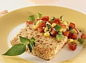 Fried sheep's cheese with pepper and sweetcorn salad