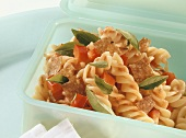 Pasta salad with beef salami