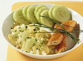 Potato & cucumber salad with Schillerlocken (smoked dogfish)