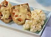 Cheese on toast with cauliflower salad