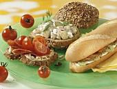 Drei belegte Brote