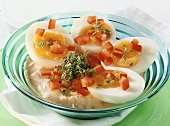 Medium-soft eggs with quark and cress