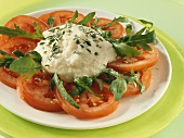 Tomato and rocket salad with aubergine puree