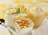 Apple puree with almond quark, vanilla yoghurt, lime cream