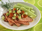 Roast beef with celery and tomato salsa